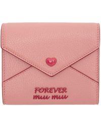 Miu Miu - Pink Madras Love Trifold Wallet - Lyst