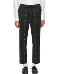 Gucci - Navy And Green Wool Check Bee Iconic Trousers - Lyst