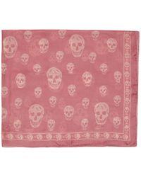 Alexander McQueen - Pink And Beige Silk Skull Scarf - Lyst