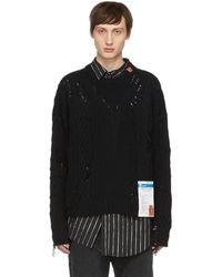 Miharayasuhiro - Black Damaged Knit Pullover - Lyst