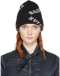 Balenciaga | Black All Over Logo Beanie | Lyst
