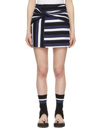 3.1 Phillip Lim - Navy Striped Wrap Fitted Miniskirt - Lyst