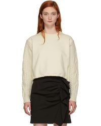 3.1 Phillip Lim - Off-white Panelled Cable Knit Sweatshirt - Lyst