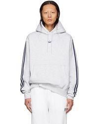 adidas Originals - Grey Fleece Off Court Basketball Hoodie - Lyst