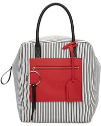 Versace - Black And Red Large Canvas Striped Daydreamer Tote - Lyst