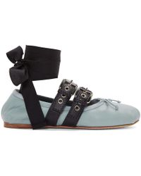 bd623e62074d Miu Miu - Blue Double Bands Ballerina Flats - Lyst