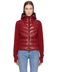 Moncler Grenoble - Red Down Hooded Cardigan - Lyst