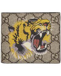 Gucci - Beige Gg Supreme Tiger Bifold Wallet - Lyst