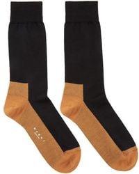 Marni - Black & Orange Merino Socks - Lyst