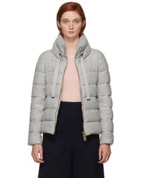 Herno - Grey Lurex Boxy Down Jacket - Lyst