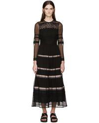 Burberry Prorsum - Robe en soie noire rayée à rubans - Lyst