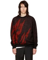 Saint Laurent - Black & Red Flame Sweater - Lyst