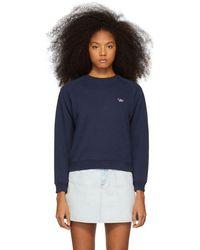 Maison Kitsuné - Navy Tricolor Fox Patch Sweatshirt - Lyst