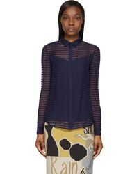1622dd220d25a4 Burberry Prorsum - Bright Navy Sheer Striped Silk Chiffon Shirt - Lyst
