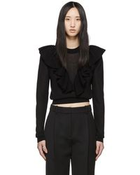 See By Chloé - Black Ruffled Knit Sweater - Lyst