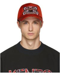 KENZO - Red Canvas Tiger Cap - Lyst