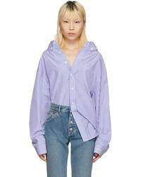 Balenciaga - Blue And White Striped Swing Shirt - Lyst