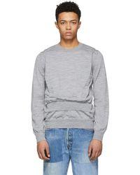 Comme des Garçons - Grey Wool Intarsia Jumper - Lyst