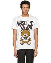 Moschino - White Playboy Teddy Bear T-shirt - Lyst