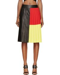 Fausto Puglisi - Black Colorblocked Pleated Leather Skirt - Lyst