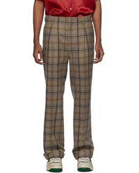 Gucci - Brown Plaid Cuffed Trousers - Lyst