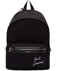 Saint Laurent   Black Embroidered Logo City Backpack   Lyst