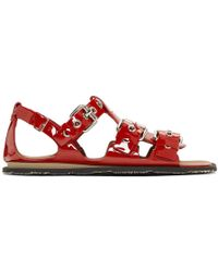 Miu Miu - Red Patent Three-buckle Sandals - Lyst