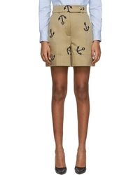 Thom Browne - Beige Anchor Embroidery Shorts - Lyst