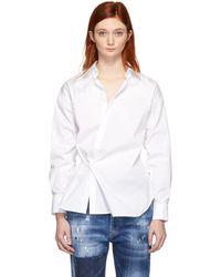 DSquared² - White Stretch Poplin Wrap Shirt - Lyst
