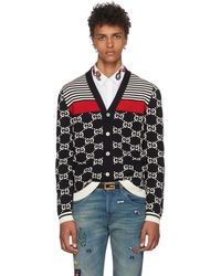 Gucci - Navy Wool Striped GG Cardigan - Lyst