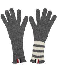 Thom Browne | Grey Rib Cashmere Four Bar Gloves | Lyst