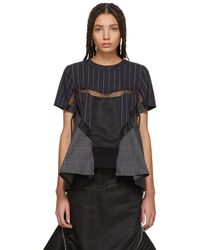 Sacai - Navy And Grey Patchwork Glencheck And Stripe Blouse - Lyst