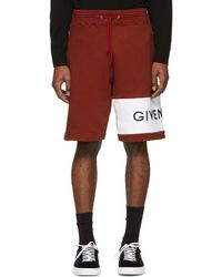 Givenchy - Red And White Logo Shorts - Lyst