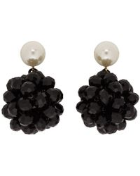 Marc Jacobs Black Pearl Crystal Ball Drop Earrings