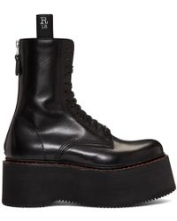 R13 - Black Three Stack Platform Lace-up Boots - Lyst