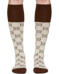 Gucci - Beige Knee-high GG Socks - Lyst