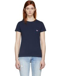 Maison Kitsuné - Navy Tricolor Fox Patch T-shirt - Lyst