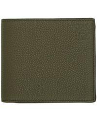 Loewe - Green And Tan Bifold Wallet - Lyst
