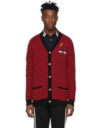 Gucci - Red And Black Striped Cardigan - Lyst