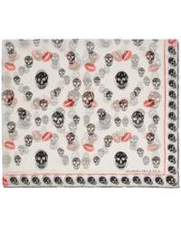 Alexander McQueen - Ivory Silk Skull Kisses Scarf - Lyst