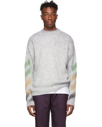Off-White c/o Virgil Abloh - Grey Brushed Mohair Diag Sweater - Lyst