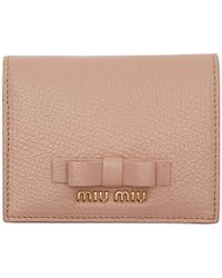 Miu Miu - Pink Bow French Wallet - Lyst
