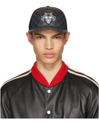 Gucci | Black Angry Cat Gg Supreme Baseball Cap | Lyst
