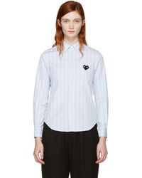 Play Comme des Garçons - Blue Striped Heart Patch Shirt - Lyst