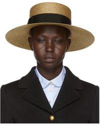 0db7b0f8bc9 Gucci Gold Straw Alba Hat in Metallic - Lyst
