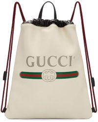 Gucci - Off-white Leather Logo Backpack - Lyst