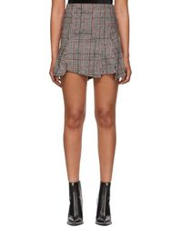McQ - Black And Red Cut Up Check Miniskirt - Lyst