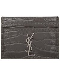 Saint Laurent - Grey Croc Monogram Card Holder - Lyst