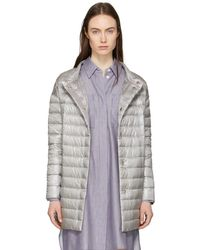 Herno - Silver Down Long Cocoon Coat - Lyst