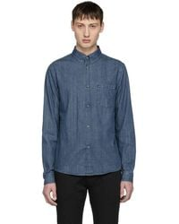 A.P.C. - Blue Denim Serge Shirt - Lyst